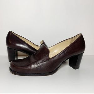 Antonio Melani Brown Leather Heeled Loafers